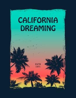 Koszulka z grafiką dla surferów california
