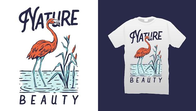 Koszulka z ilustracją flaminga