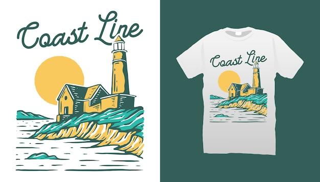 Koszulka z ilustracją latarni morskiej