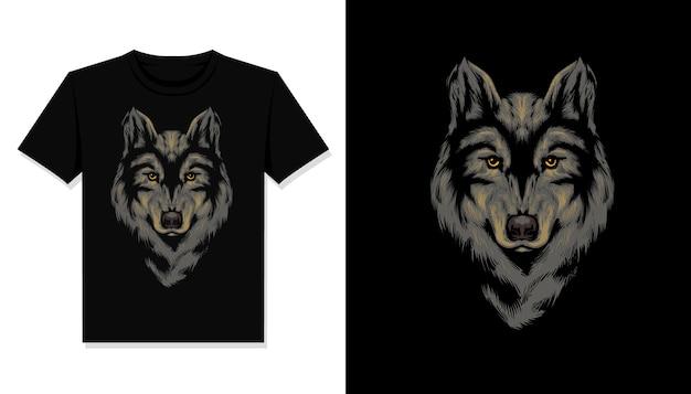 Koszulka z nadrukiem głowy wilka