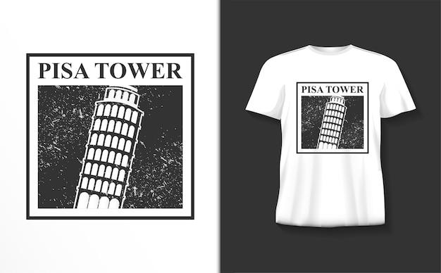 Koszulka z typografią wieży w pizie