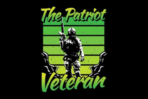 Koszulka żołnierz weteran patriota typografia retro vintage ilustracja