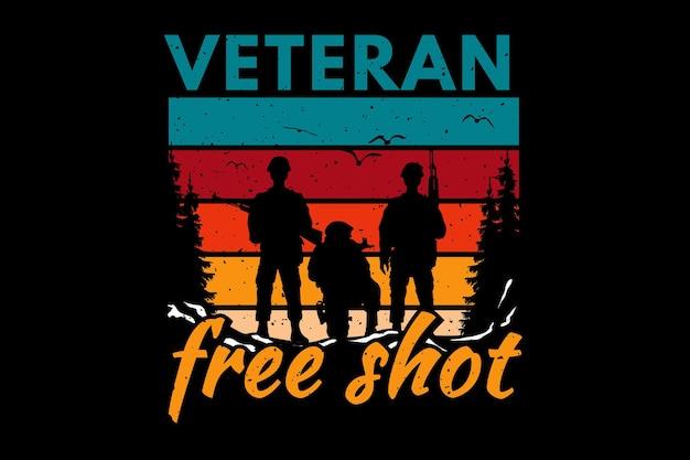 Koszulka żołnierz weteran wolny strzał typografia retro vintage ilustracja