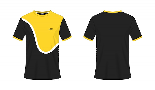 Koszulka żółty i czarny szablon piłki nożnej lub piłki nożnej dla klubu drużynowego na białym tle.