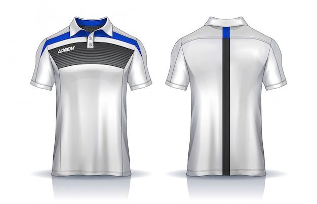 Koszulki polo szablony jednolity widok z przodu i tyłu.