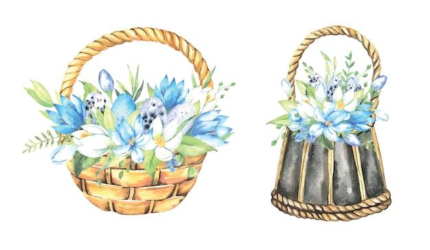 Koszyczki wielkanocne z naturalnymi jajkami