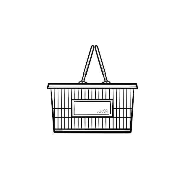 Koszyk na zakupy ręcznie rysowane konspektu doodle ikona. rynek, sprzedaż, handel, sprzedaż, koncepcja biznesowa