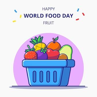 Koszyk pełen świeżych owoców ilustracja kreskówka obchody światowego dnia żywności.
