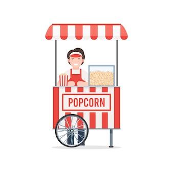 Koszyk popcornu ze sprzedawcą