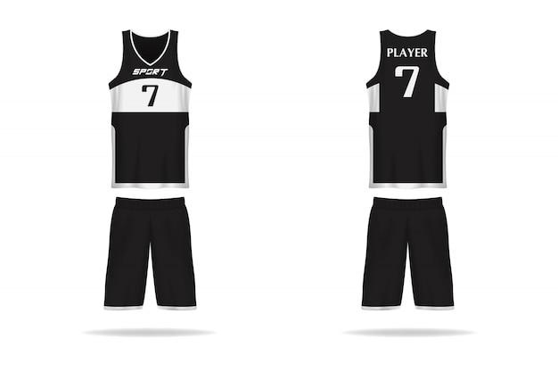 Koszyk specyfikacji szablon jersey. sportowa koszulka z wycięciem pod szyją. ilustracja