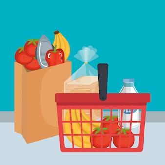 Koszyk z produktami supermarketów