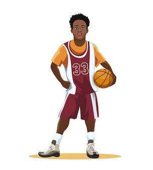 Koszykarz w mundurze z piłką w ręku na białym tle.