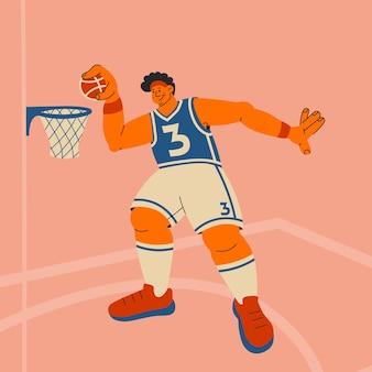 Koszykarz wysoki mężczyzna rzuca piłkę do kosza płaska wielokolorowa ilustracja wektorowa