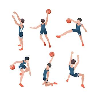 Koszykarze. sportowcy grający w aktywne gry z izometrycznymi ludźmi zdrowego stylu życia.