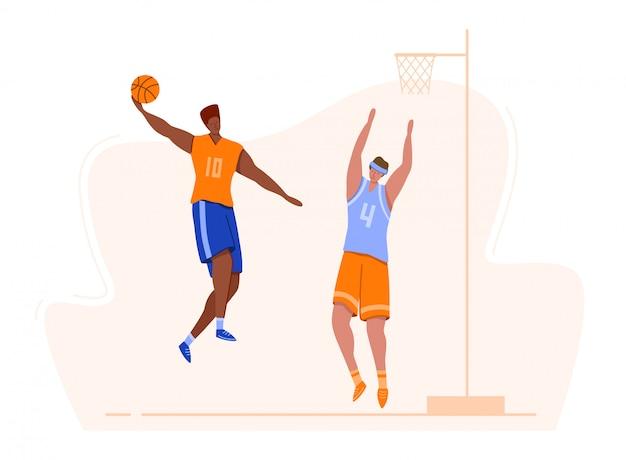 Koszykarze z piłką na placu zabaw, ludzie grający w mecz, afroamerykanin skacze