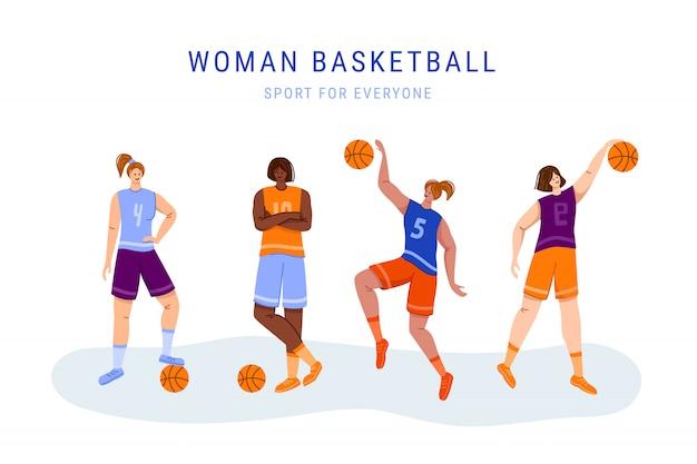 Koszykarze z piłką - zestaw izolowanych postaci dziewcząt, afroamerykanów i białych kobiet grających