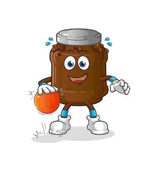 Koszykówka dryblująca dżemem czekoladowym. kreskówka maskotka