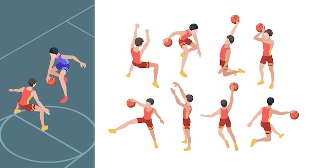 Koszykówka. gracze sportowi w aktywnej akcji pozują zestaw izometrycznych graczy w koszykówkę.