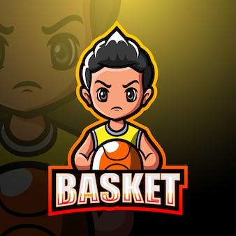 Koszykówka maskotka esport logo ilustracja