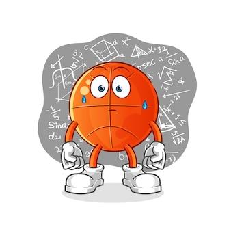 Koszykówka myśli intensywnie. postać z kreskówki