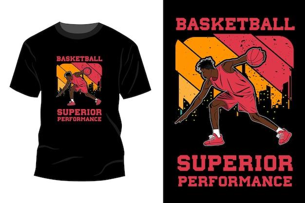 Koszykówka najwyższej wydajności t-shirt makieta design vintage retro