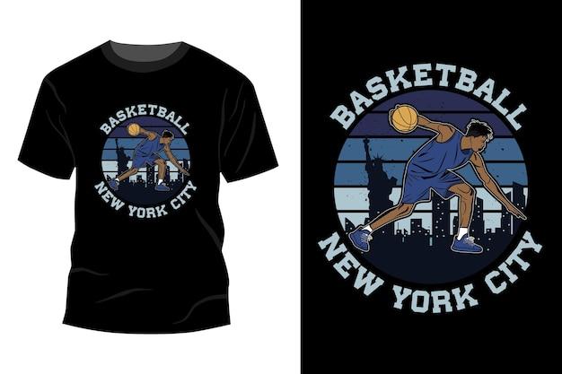 Koszykówka nowy jork t-shirt makieta projekt sylwetka vintage