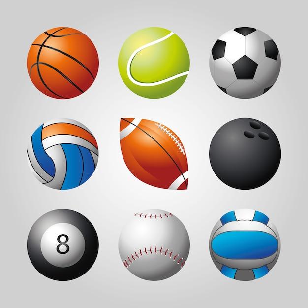 Koszykówka, piłka nożna, kręgle. piłki sportowe zestaw ilustracji