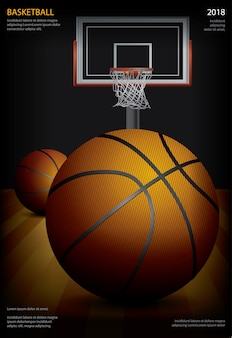 Koszykówka plakatowa reklamowa wektorowa ilustracja