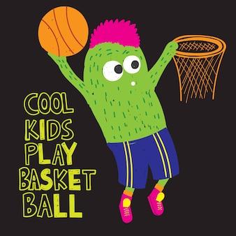 Koszykówka potwór ręcznie rysowane na t shirt