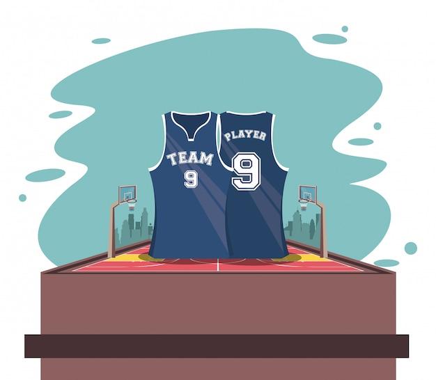 Koszykówka sport gry scenerii kreskówki