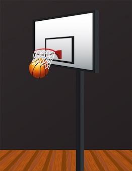Koszykówka sport z balonem i koszem