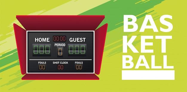 Koszykówka sport z tablicą wyników