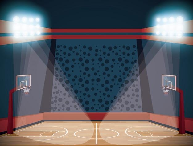 Koszykówka stadion scenerii kreskówki