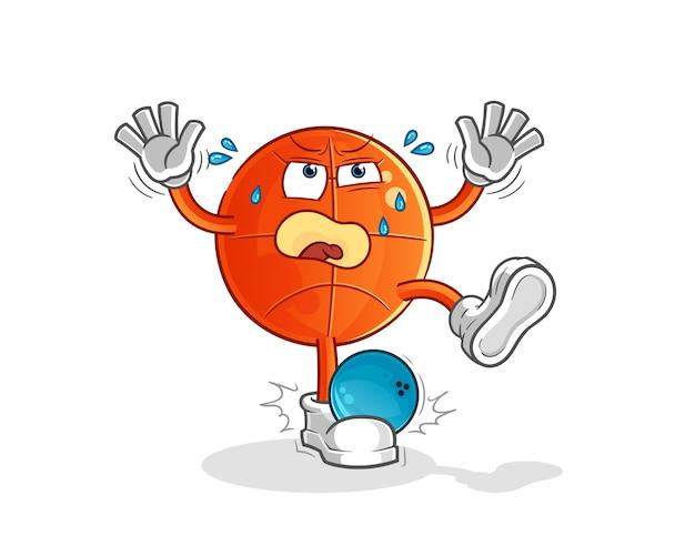 Koszykówka trafiona przez kreskówka kręgle. kreskówka maskotka