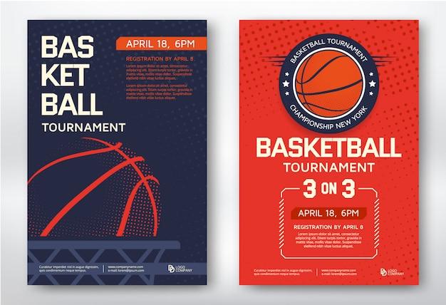 Koszykówka turniej nowoczesny sport plakaty szablon projekt
