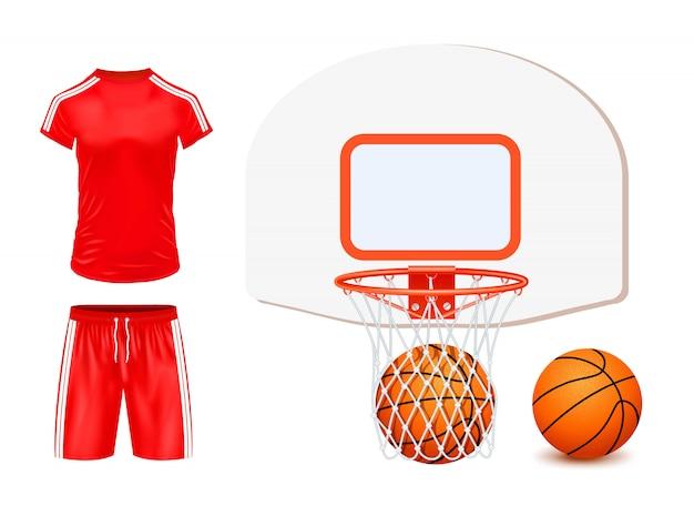 Koszykówka zestaw ilustracji na białym tle