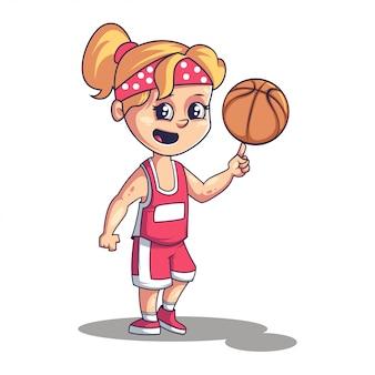 Koszykowy balowy gracz śliczna mała dziewczynka