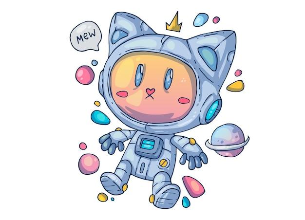 Kot astronauta. ilustracja kreatywnych kreskówek.