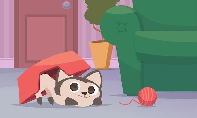 Kot bawiący się we wnętrzu. śmieszny kotek w salonie wektor kreskówka tło. kot szczęśliwy, domowy zwierzak bawiący się w pokoju ilustracja