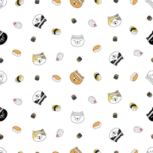 Kot bez szwu wzór kotek kucharz sushi