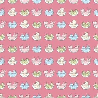Kot bez szwu wzór kotek perkal zwierzę domowe spanie doodle postać z kreskówki