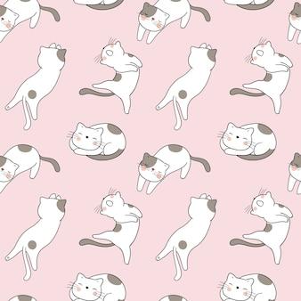 Kot bez szwu wzór na różowy pastel.