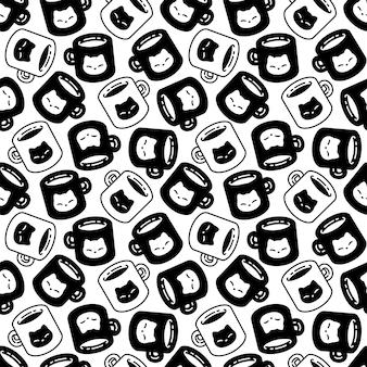 Kot bez szwu wzór perkal kotek kreskówka filiżanka kawy