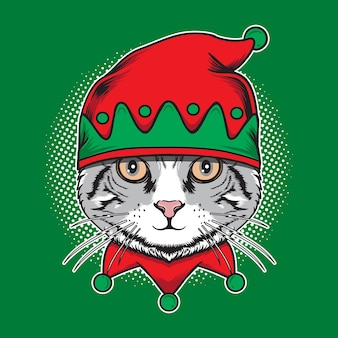 Kot boże narodzenie nosić ładny kapelusz elfa ilustracja