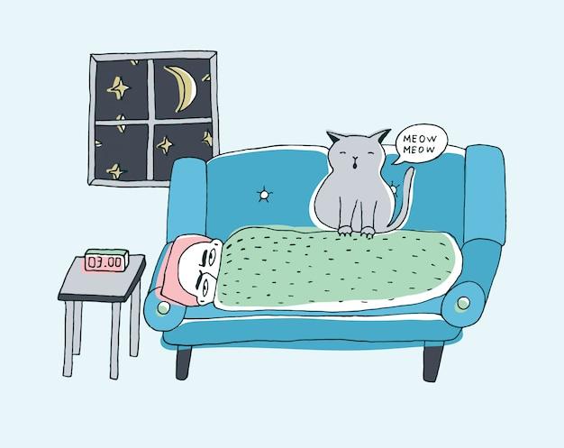 Kot budzi właściciela, miaucząc w nocy. śliczna ręka rysująca doodle ilustracja.