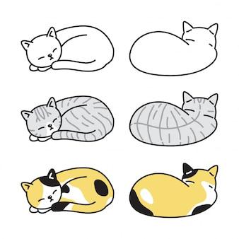 Kot charakter kotek perkal spanie ilustracja kreskówka