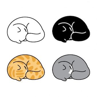Kot charakter kreskówka kotek perkal spanie ilustracja