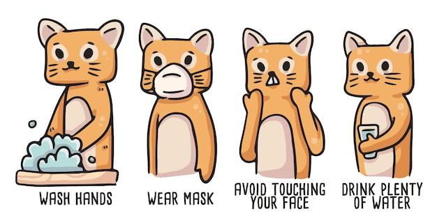 Kot covid-19 ilustracja prawidłowej higieny