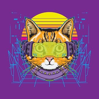 Kot cyberpunk futurystyczna ilustracja