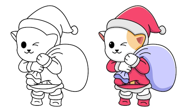 Kot do kolorowania dla dzieci santa claus